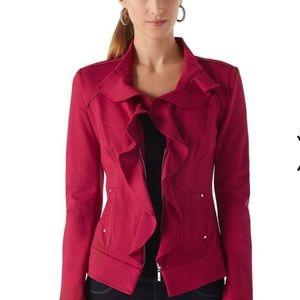 WHBM Ruffled Cardinal Ponte Jacket Berry  size 12